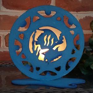 Blue Fish Metal Votive Tealight Candle Holder